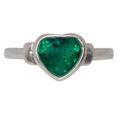 Certified Intense Green 1.33ct Colombian Emerald Heart Cut 18k White Gold Ring