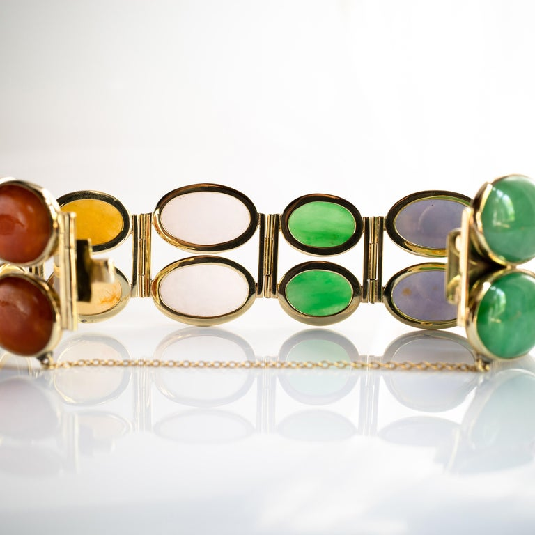 Jade Bracelet Cuff in Lavender, Green, Black, Red, Yellow and White For Sale 13