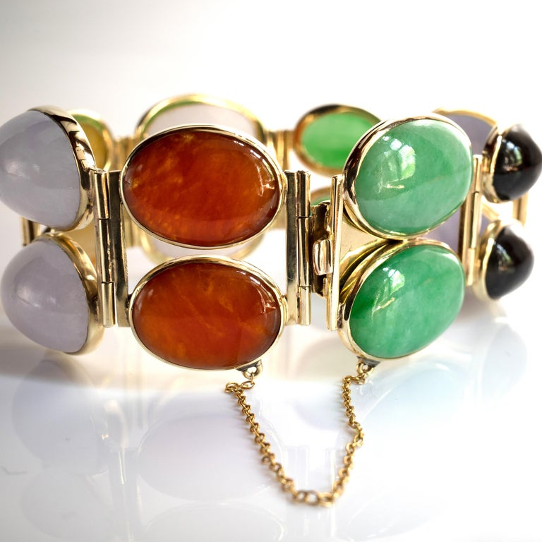 Jade Bracelet Cuff in Lavender, Green, Black, Red, Yellow and White For Sale 14