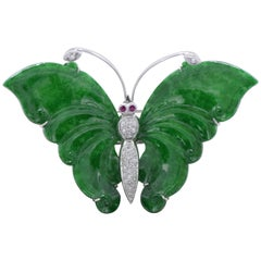 Certified Jade, Ruby, and Diamond Butterfly Pendant and Brooch