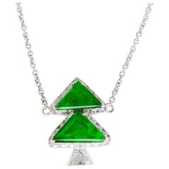Certified Jadeite and Diamond Xmas / Evergreen Tree Pendant Necklace Apple Green