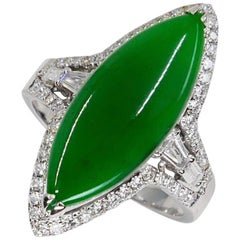 Certified Jadeite Jade and Diamond Cocktail Ring, Intense Apple Green Color
