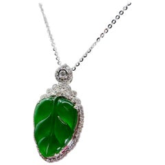 Certified Jadeite Jade and Diamond Pendant Drop Necklace, Imperial Green Jade