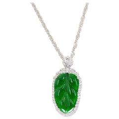 Certified Jadeite Jade and Diamond Pendant Drop Necklace, Imperial Green Jade