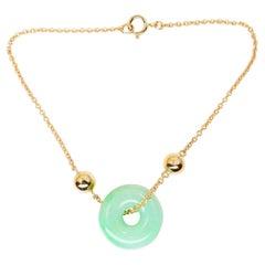 Certified Jadeite Jade Bracelet, 18K Yellow Gold, Patches of Apple Green