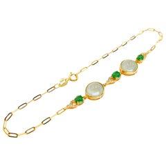 Certified Jadeite Jade Bracelet with Diamonds, Icy and Imperial Jade