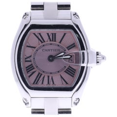 Certified Ladies Cartier Roadster Stainless Steel Pink Sunray Dial Watch 2675