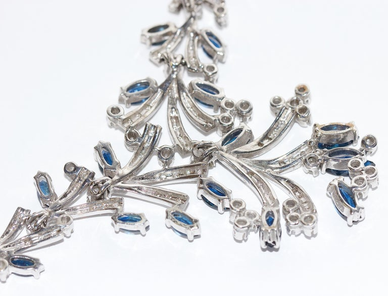 Certified Ladies Necklace in 14 Karat White Gold Set with Diamonds and Sapphires For Sale 7