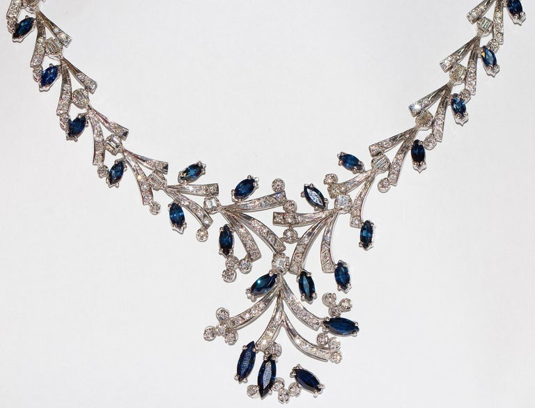 Magnificent, certified women's necklace in 14 Karat white gold.  The necklace is set with 265 small diamonds with a total weight of about 6.6 carat. Quality: Wesselton to Top Wesselton, VVS to VS.  Additionally set with 36 diamonds in trapeze,