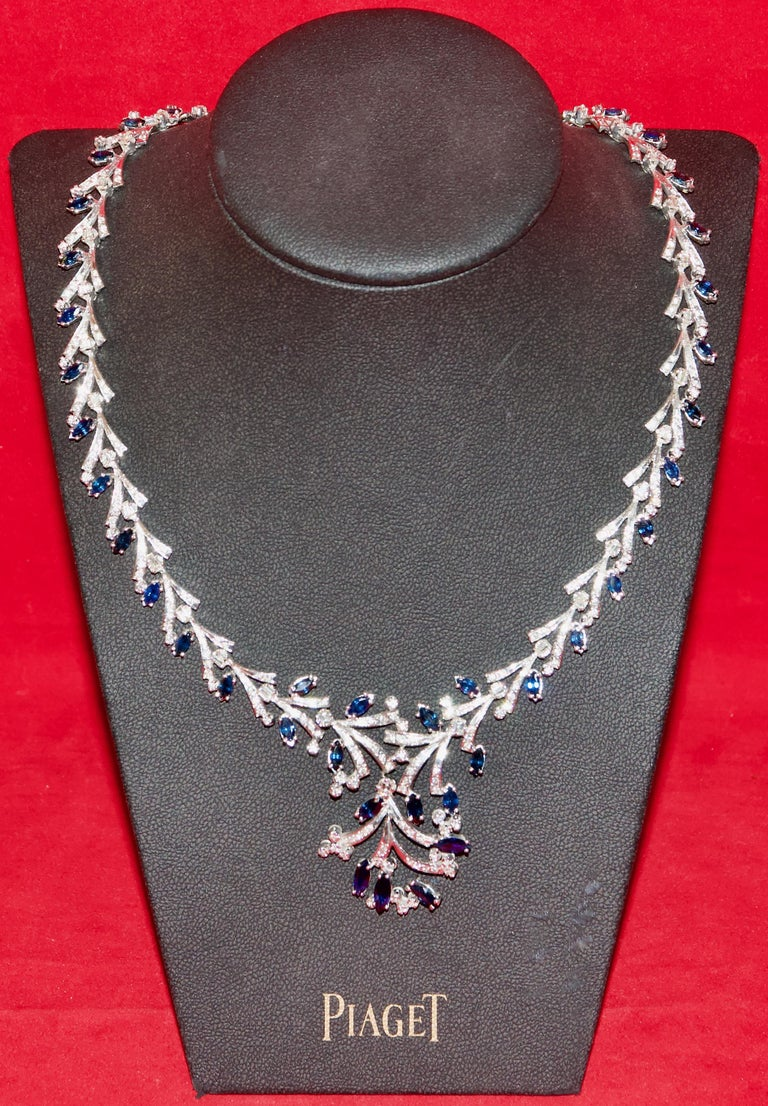 Round Cut Certified Ladies Necklace in 14 Karat White Gold Set with Diamonds and Sapphires For Sale