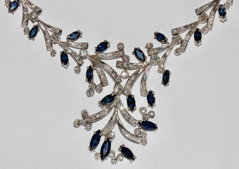 Certified Ladies Necklace in 14 Karat White Gold Set with Diamonds and Sapphires For Sale 1