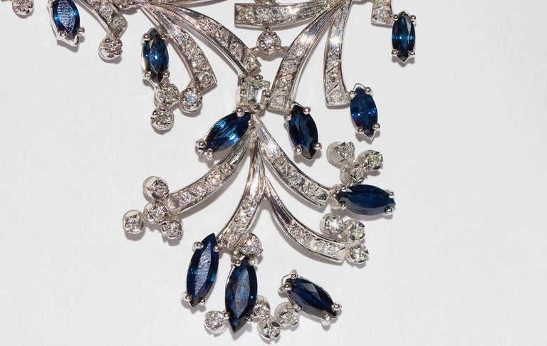 Certified Ladies Necklace in 14 Karat White Gold Set with Diamonds and Sapphires For Sale 2