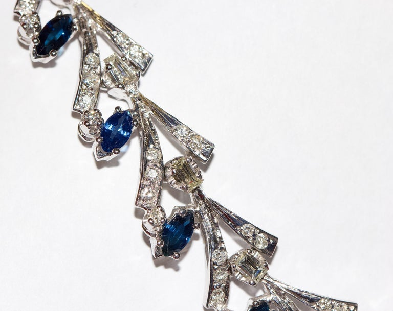 Certified Ladies Necklace in 14 Karat White Gold Set with Diamonds and Sapphires For Sale 3