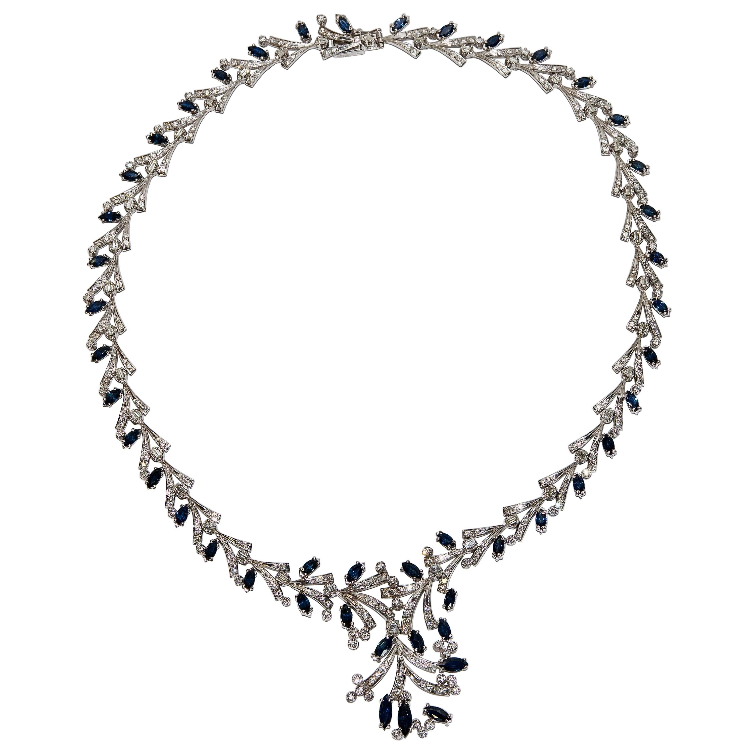 Certified Ladies Necklace in 14 Karat White Gold Set with Diamonds and Sapphires