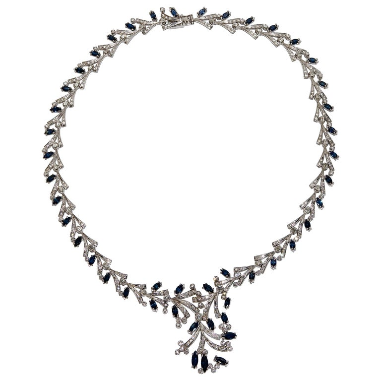 Certified Ladies Necklace in 14 Karat White Gold Set with Diamonds and Sapphires For Sale