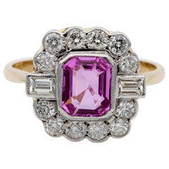 Certified Late Art Deco 1.40 Carat Natural Pink Sapphire and Diamond PT Ring