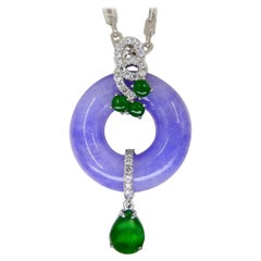 Certified Lavender Jade & Imperial Green Jade Diamond Pendant Drop Necklace