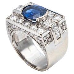 Certified Madagascar Sapphire Ring Set with Diamonds 18 Karat White Gold Frame