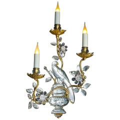 Certified Maison Baguès Paris Crystal Bird Sconces