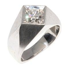Certified, Massive Men's Ring with 1.15 Carat Solitaire Diamond, 18 Karat Gold