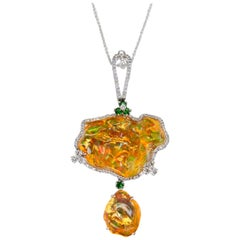 Certified Mexican Fire Opal, Tsavorites, & Diamond Pendant, Superb Play of Color