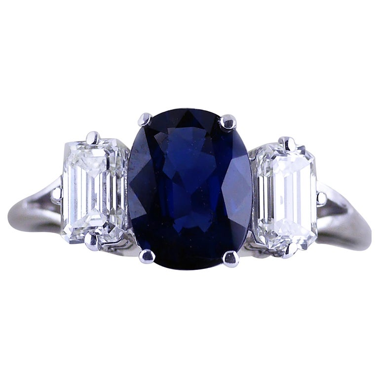 Certified Natural 1.51 Carat Cushion Cut Sapphire and Diamond Ring, circa 1960 For Sale