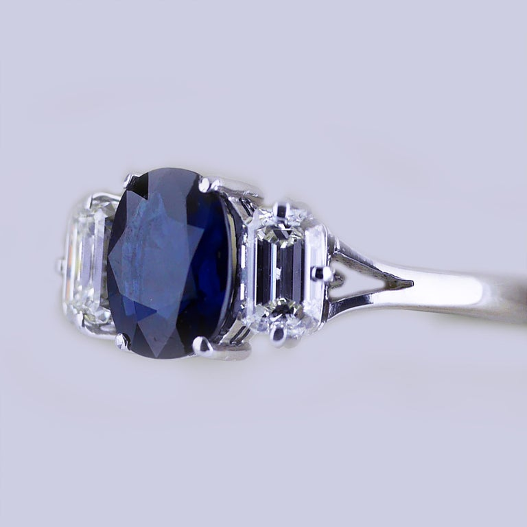Women's Certified Natural 1.51 Carat Cushion Cut Sapphire and Diamond Ring, circa 1960 For Sale