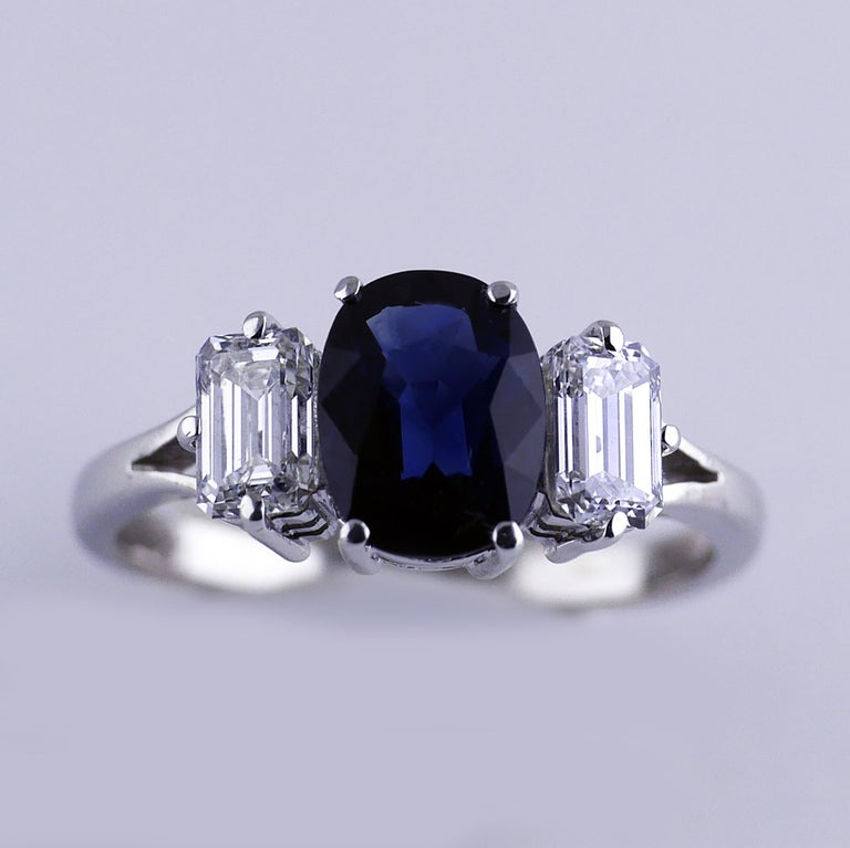 Certified Natural 1.51 Carat Cushion Cut Sapphire and Diamond Ring, circa 1960 For Sale 1