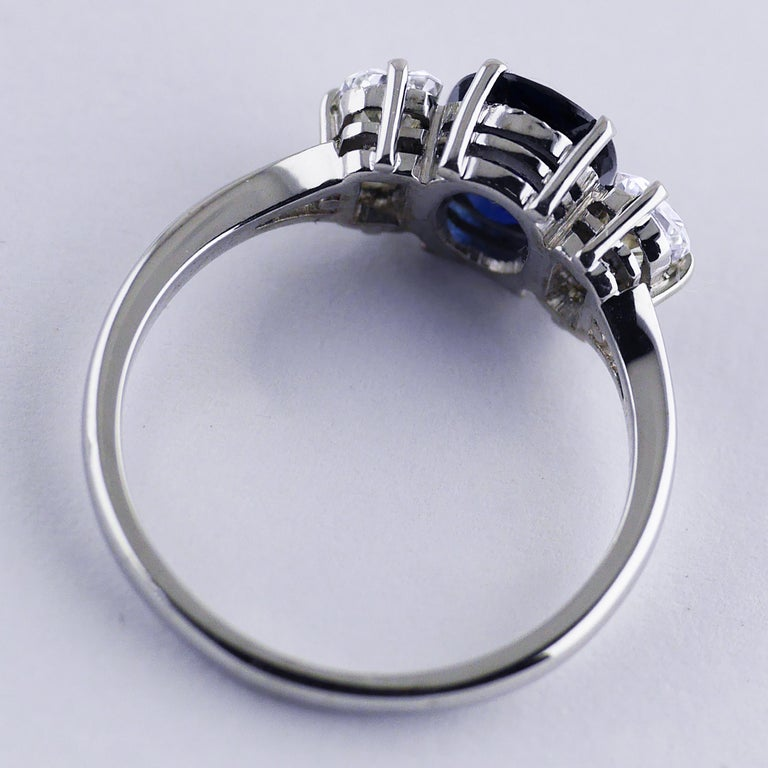 Certified Natural 1.51 Carat Cushion Cut Sapphire and Diamond Ring, circa 1960 For Sale 3