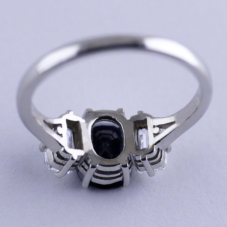 Certified Natural 1.51 Carat Cushion Cut Sapphire and Diamond Ring, circa 1960 For Sale 4