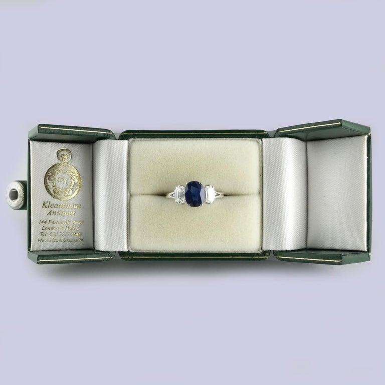Certified Natural 1.51 Carat Cushion Cut Sapphire and Diamond Ring, circa 1960 For Sale 5