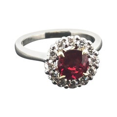 Certified Natural 1.58 Carat Round Ruby and Diamond Halo Engagement Ring