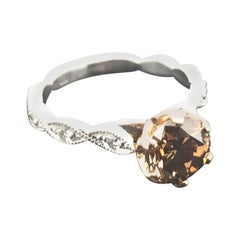 Certified Natural 1.63 Carat Argyle Cognac and White Diamond Engagement Ring