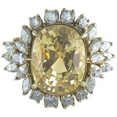 Certified Natural 16.39c Cushion Cut Yellow Sapphire and Diamond Ring circa 1960
