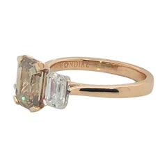 Certified Natural 2.07 Carat Cognac Argyle Diamond Emerald Cut Engagement Ring