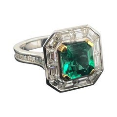 Certified Natural 2.35 Carat Asscher Cut Emerald and Diamond Cocktail Ring