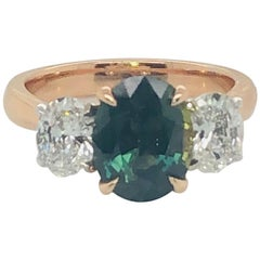 Certified Natural 2.86 Carat Australian Green Blue Sapphire Engagement Ring