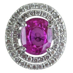 Certified Natural 2.91 Carat Cushion Cut Pink Sapphire and Diamond Ring