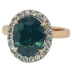 Certified Natural 3.73 Carat Australian Green Sapphire Diamond Engagement Ring
