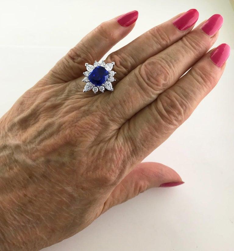 Certified Natural 3.75 Carat Sapphire Diamond Platinum Ring, circa 1960 For Sale 5