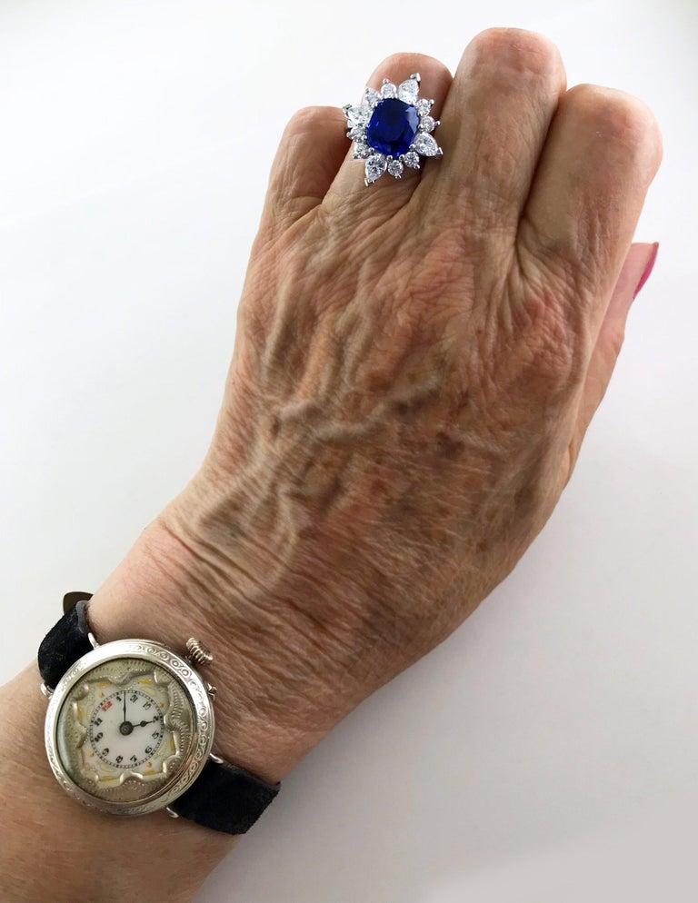 Certified Natural 3.75 Carat Sapphire Diamond Platinum Ring, circa 1960 For Sale 6