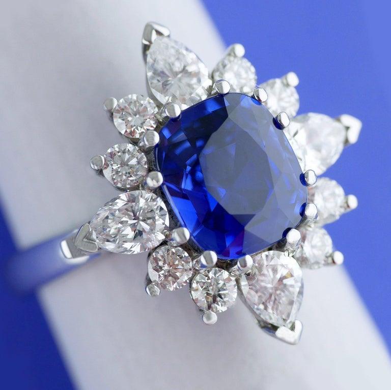 Cushion Cut Certified Natural 3.75 Carat Sapphire Diamond Platinum Ring, circa 1960 For Sale
