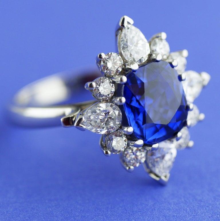 Women's Certified Natural 3.75 Carat Sapphire Diamond Platinum Ring, circa 1960 For Sale