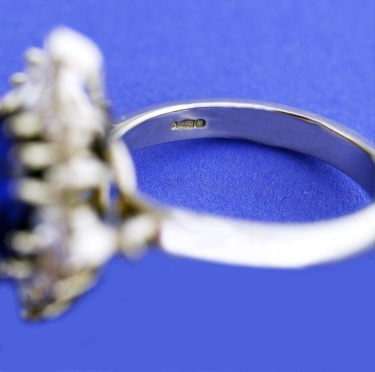 Certified Natural 3.75 Carat Sapphire Diamond Platinum Ring, circa 1960 For Sale 3