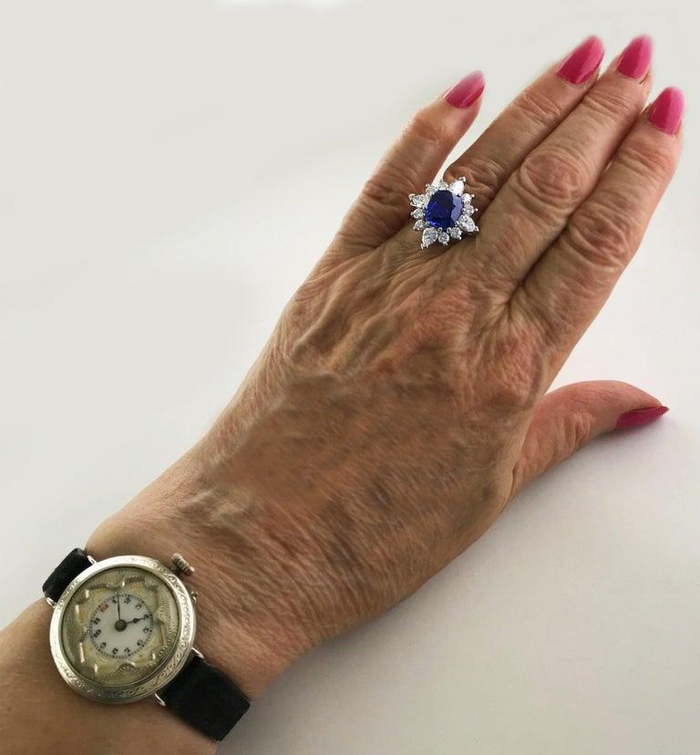 Certified Natural 3.75 Carat Sapphire Diamond Platinum Ring, circa 1960 For Sale 4