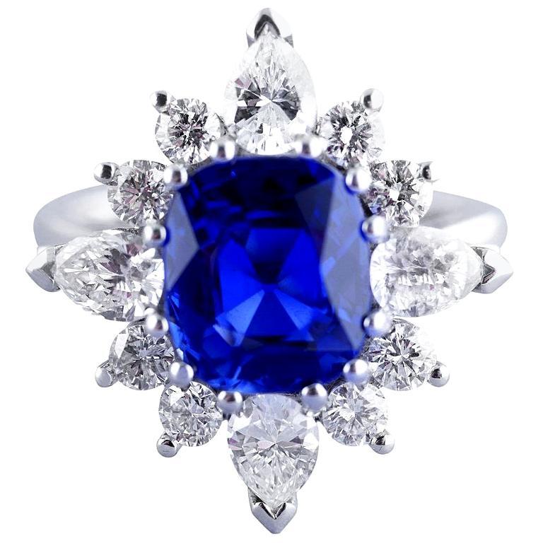 Certified Natural 3.75 Carat Sapphire Diamond Platinum Ring, circa 1960 For Sale