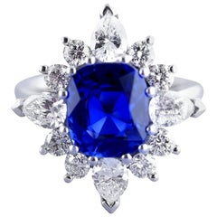 Certified Natural 3.75 Carat Sapphire Diamond Platinum Ring, circa 1960