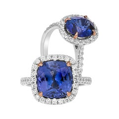Certified Natural 6.09 Carat, Cushion Cut, Ceylonese Sapphire and Diamond Ring