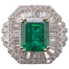 Certified Natural 6.3 Emerald and Diamond Engagement Ring