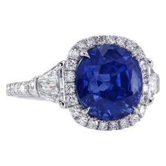 Certified Natural 6.97 Carat Cushion Blue Sapphire Diamond Halo Platinum Ring